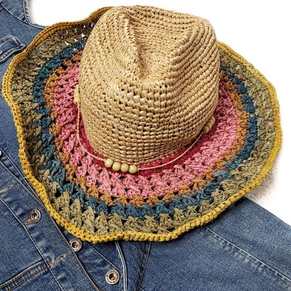 53a4e602bcf Sun n Sand Accessories | Straw Floppy Hat Rainbow Boho | Poshmark